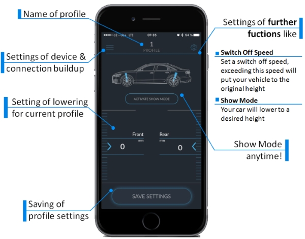 Functions of the Active Suspension App for car lowering